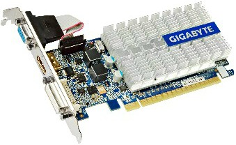 GIGABYTE GV-N210SL-1GI / GeForce 210 / PCI-E 2.0 / 1GB DDR3 video karte