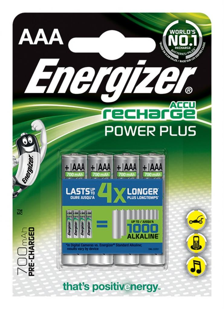 Rechargeable battery, ENERGIZER Power Plus, AAA, HR03, 1.2V, 700mAh, 4 pieces