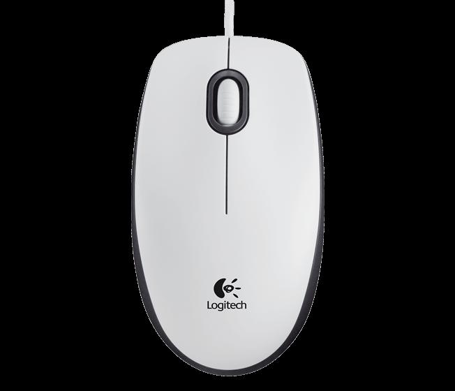 Logitech M100, Corded mouse, White Datora pele