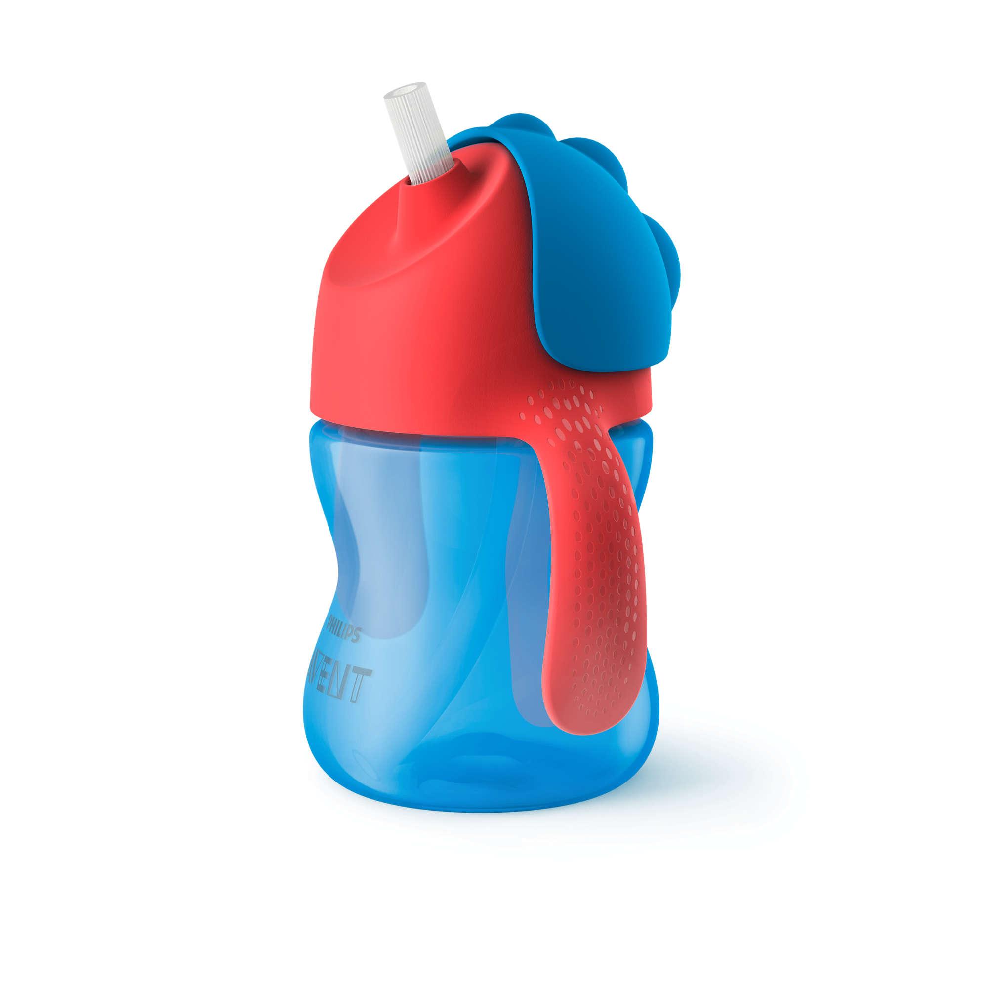 AVENT Krūzīte ar elastīgu salmiņu, 200 ml, 9M+, zila SCF796/01 piederumi bērnu barošanai