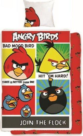 Angry Birds Posciel Angry Birds 160x200 cm + poduszka 70x80 cm czerwono-zolta 5046124 Gultas veļa