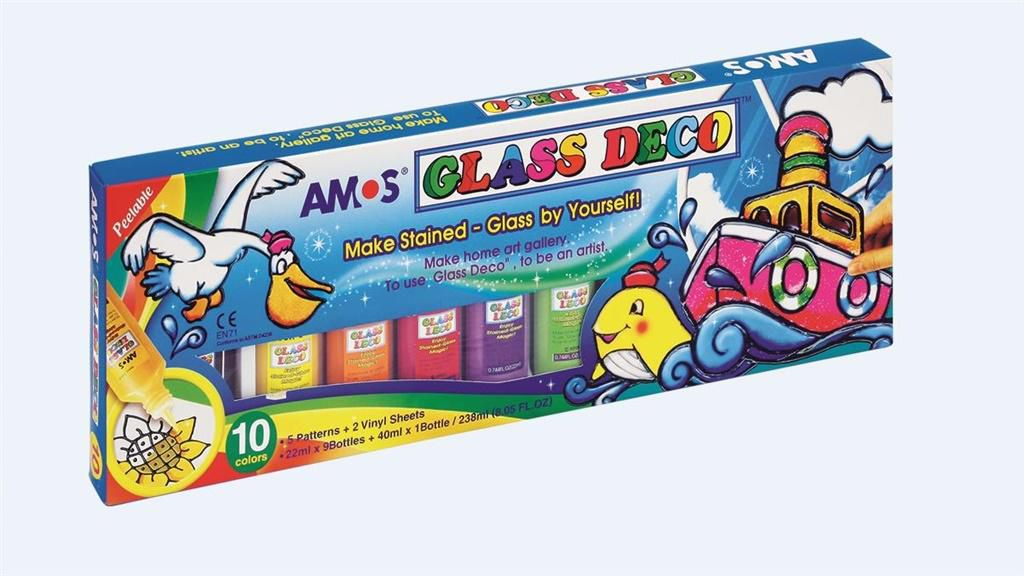 Amos Stained Glass Paints Glass Deco 10 Colors (237463) materiāli konstruktoriem