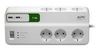 APC PM6U-GR Essential SurgeArrest 6-fach, 2 USB-Ports, 230 V elektrības pagarinātājs