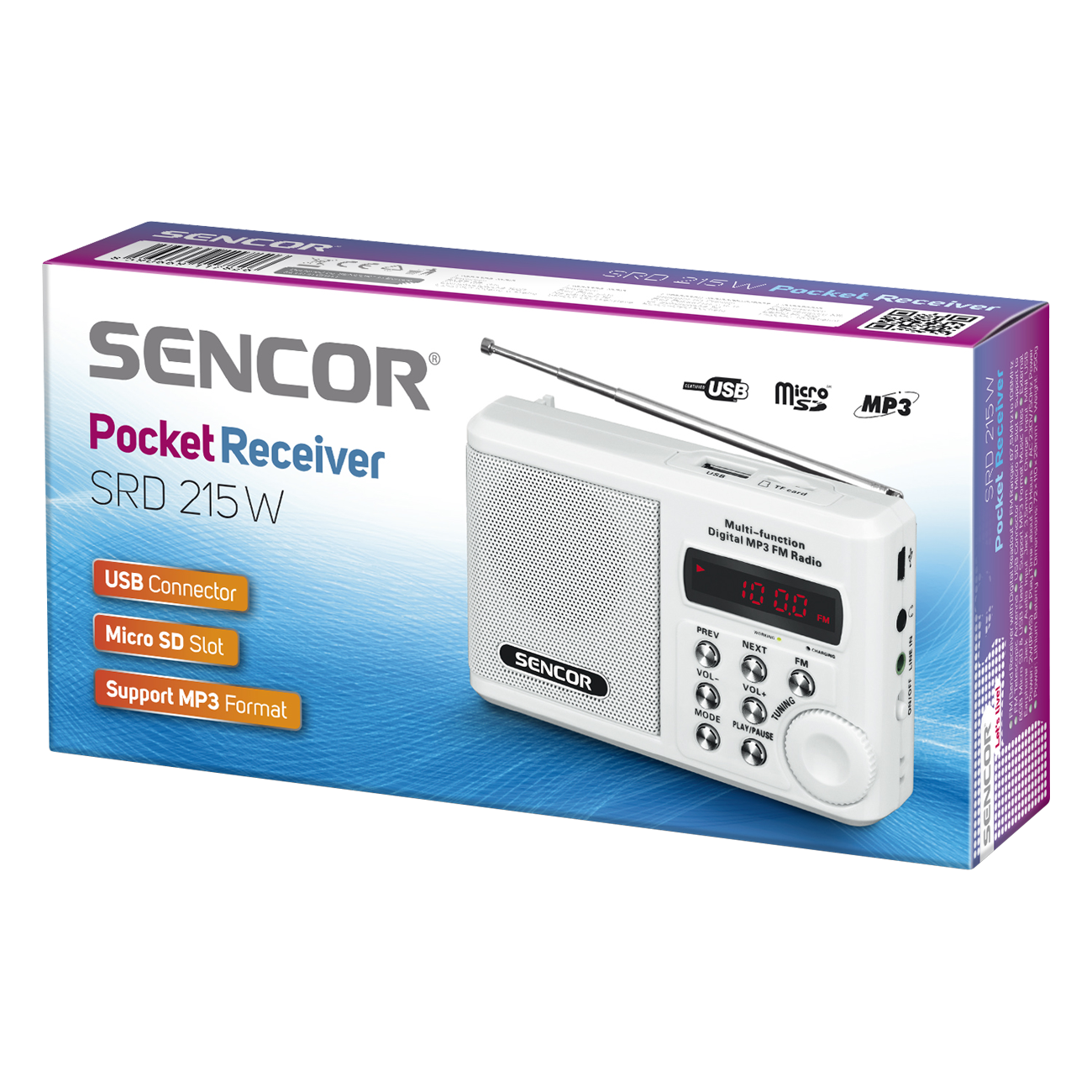Sencor Portable radio SRD 215 W MP3, USB, SD magnetola