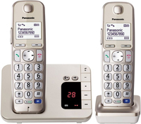 Panasonic KX-TGE222GN Schnurlostelefon Seniorentelefon with AB + 2. Mobilteil champagner gold telefons