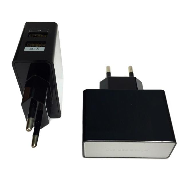 HQ Universāls Planšetdatora / Telefona USB 2.1A/1A Premium Kvalit tes Tīkla lādētājs Melns (EU Blister) aksesuārs mobilajiem telefoniem