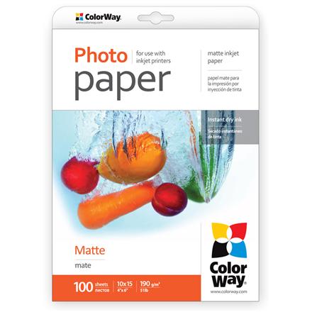 ColorWay Matte Photo Paper, 10x15, 190 g/m2, 100 sheets foto papīrs