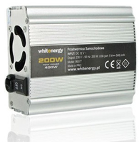 Whitenergy Power Inverter DC/AC from 12V DC to 230V AC 200W, USB Strāvas pārveidotājs, Power Inverter