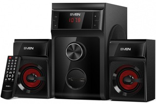 SVEN MS-302, 2.1 speakers, black, FM, USB/SD, Display, RC unit, power output 20W+2x10W (RMS) datoru skaļruņi