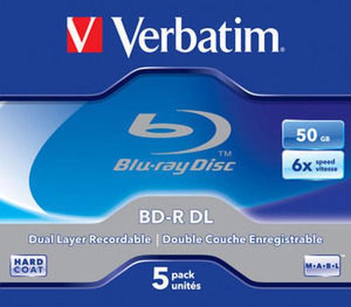 Bluray Verbatim 50GB 5pcs Spin 6x Withe Blue Surface matricas