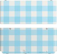 Nintendo New 3DS Coverplate Blue white checked spēļu aksesuārs