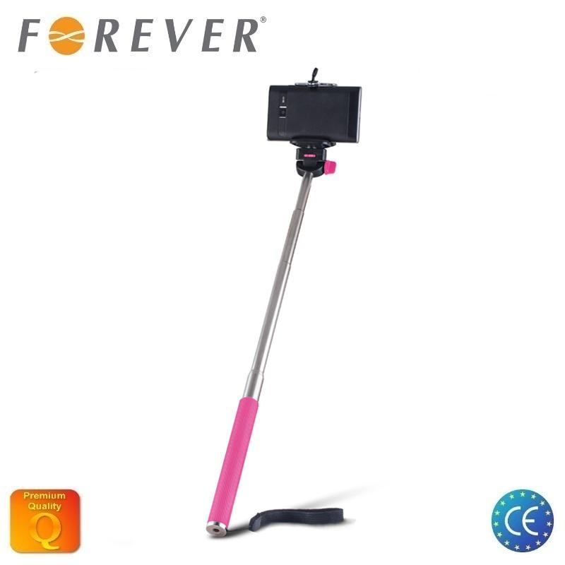 Forever MP-300 Bluetooth Selfie Stick 95cm - universāla stiprinājuma statīvs bez Pults Roz Selfie Stick