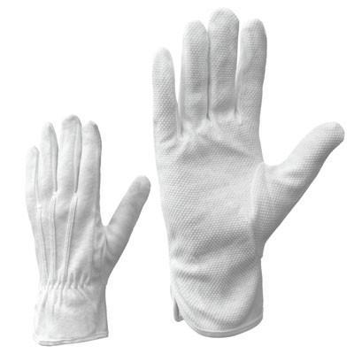 Cimdi tekstila ar PVC mikrop. balti 9.izm cimdi