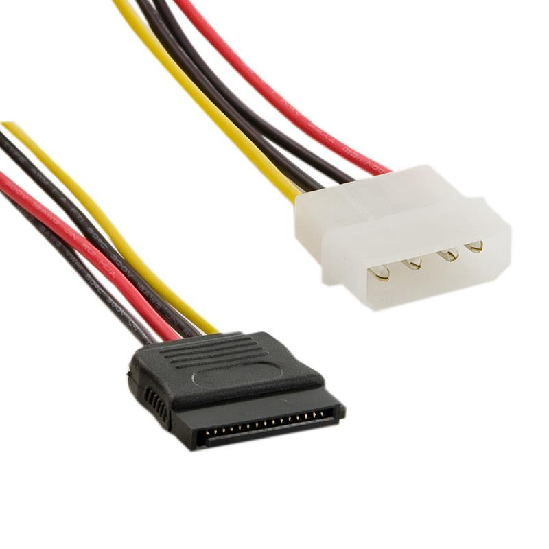 4World Power Cable MOLEX- SATA F/M 15cm kabelis datoram
