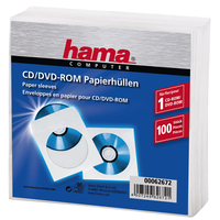 Hama 1x100 CD/DVD Paper Sleeves  white 62672 4007249626721