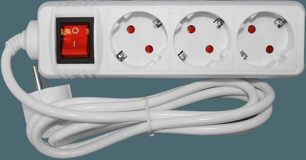 Besk pagarinātājs 3-vietīgs 3m a/z slēdzi pievadvads 3Gx1.0mm elektrības pagarinātājs