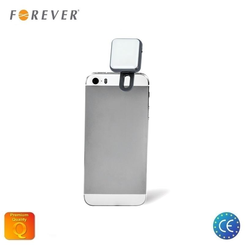 Forever SLT-200 Nakts Selfie LED Zibspuldzes gaismeklis ar Li-Ion akumul toru un universālu fiks ciju aksesuārs mobilajiem telefoniem