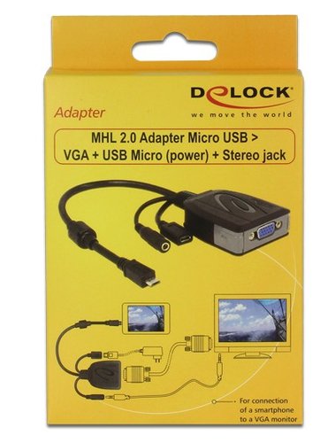 Delock Adapter MHL 2.0 Micro USB male > VGA female + USB Micro- female + Stereo