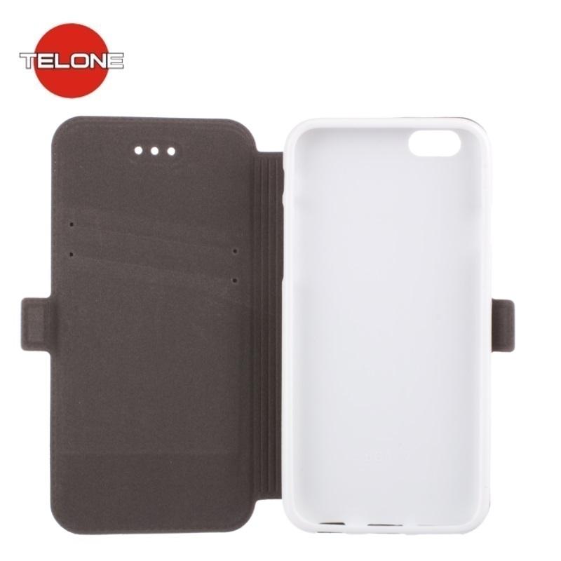 Telone Super plāns sāniski atverams maciņš ar stendu Samsung G530 Galaxy Grand Prime Balts aksesuārs mobilajiem telefoniem