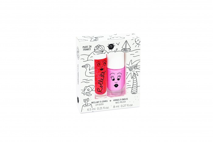 Nailmatic Kids bērnu nagu laka COOKIE - roz & bērnu lūpu krāsa ROLLFRAISE - zemeņu, HOLIDAYS NKHOLIDAYS2