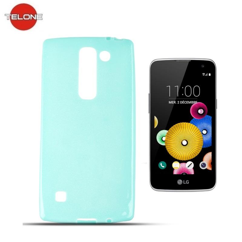 Telone Candy Super plāns 0.3mm Silikongēla Telefona Apvalks ar spīdumiem LG K4 K120E Gaīši Zils maciņš, apvalks mobilajam telefonam