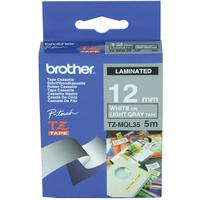 Brother TZE-MQG35 Matt Laminated Tape White on Light Grey, TZe, 5 m, 1.2 cm biroja tehnikas aksesuāri