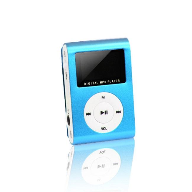 Setty Metal Clip MP3 Pleijeris ar FM Radio LCD Displeju Micro SD slotu līdz 32GB biebūvētu Li-Ion Batereju Zils aksesuārs mobilajiem telefoniem