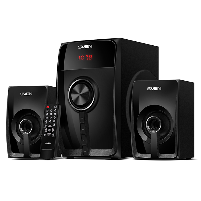 SVEN MS-307, 2.1 speakers, FM, Bluetooth, USB/SD, LED Display, RC unit, power output 40W (20 + 2 × 10), Black datoru skaļruņi