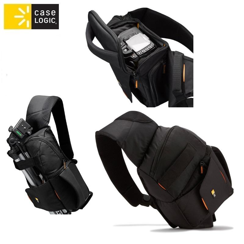Case Logic SLRC205 soma foto un video kamer m ar kabatu akumul tora glab šanai ar plecu siksnu Melna soma foto, video aksesuāriem