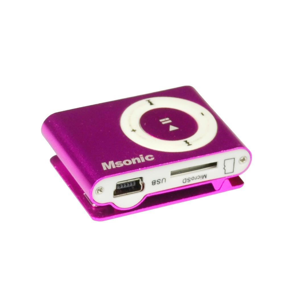 MSONIC MP3 Player with card reader, earphones, miniUSB cable, aluminum pink MP3 atskaņotājs