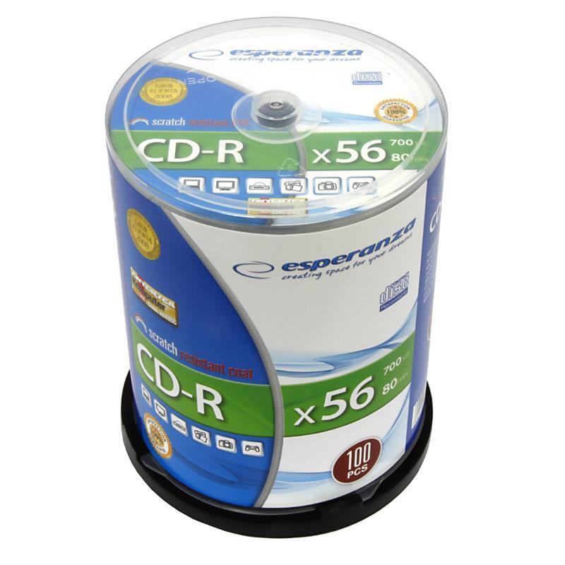 CD-R ESPERANZA [ Cake Box 100 | 700MB | 52x | Silver ] matricas
