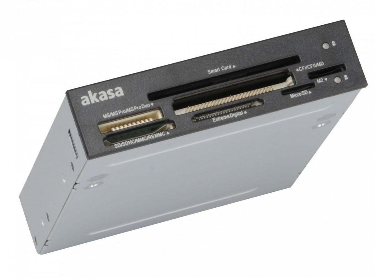 Akasa AK-ICR-09 ID and Smart Card Reader 3,5 collas - black/white karšu lasītājs
