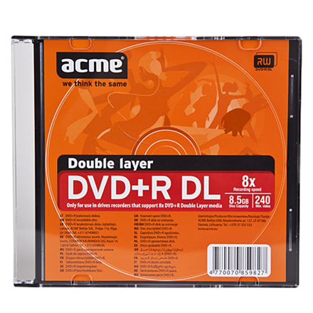 ACME disks DVD+R DOUBLE LAYER 8,5GB 8X matricas