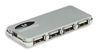 Manhattan Hi-Speed USB 2.0 Slim Hub 4 ports + power adapter USB centrmezgli