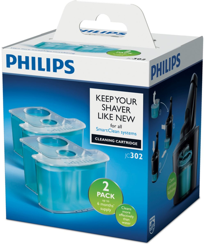 Philips Cleaning cartridge JC302/50 2-pack Cleans Lubricates Refreshes with Dual Filter system and Active lubrication Vīriešu skuveklis