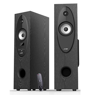FENDA T-30X (2.0,Floor Standing 2x28W, 20Hz-20kHz, BT4.0/USB/SD/FM/KARAOKE/RC,LED display, Wooden, Black) datoru skaļruņi