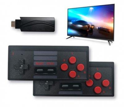 RoGer Retro WRL Spēļu konsole ar 628 spēlēm / 2x bezvadu spēļu kontrolieri / Melna spēļu konsole
