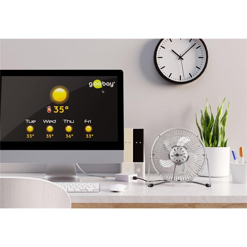Goobay 62062 20cm galda ventilators, USB, ventilators, silver Klimata iekārta