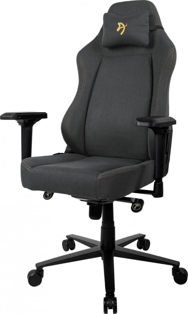 Arozzi Gaming Chair Primo Woven Fabric Black/Grey/Gold logo datorkrēsls, spēļukrēsls