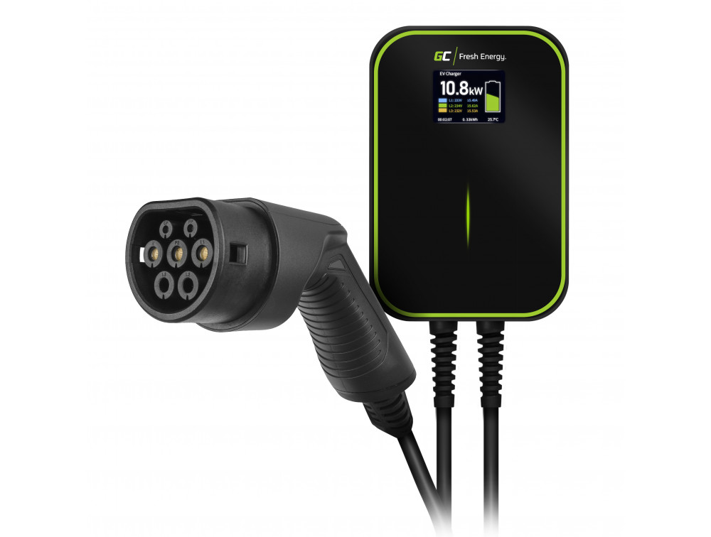 Green Cell Wallbox EV PowerBox 22kW charger with Type 2 6m cable for charging electric cars