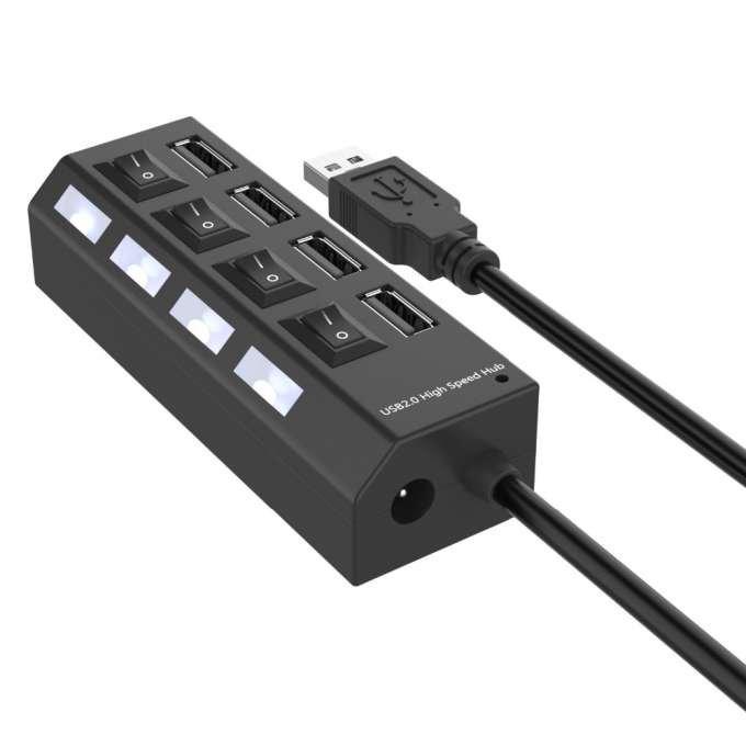 RoGer USB Hubs - Sadalītājs 4 x USB 2.0 ar atsevišķam Ieslēgšanas / Izslēgšanas pogām Melns USB centrmezgli