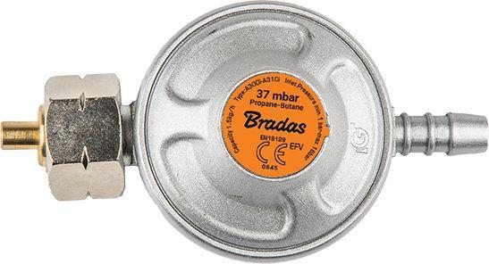Bradas Gas regulator 37mbar 1.5kg / h with safety valve (RG A310IE)