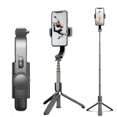 Mocco 4in1 Universāls Selfie Stick ar 1x ass stabilizatoru (Gimbal)  / Tripod Statnis / Bluetooth Tālvadības pults /  Melns Selfie Stick