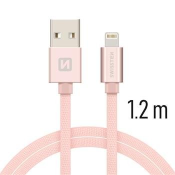 Swissten Textile Fast Charge 3A Lightning (MD818ZM/A) Datu un Uzlādes Kabelis 1.2m Rozā aksesuārs mobilajiem telefoniem