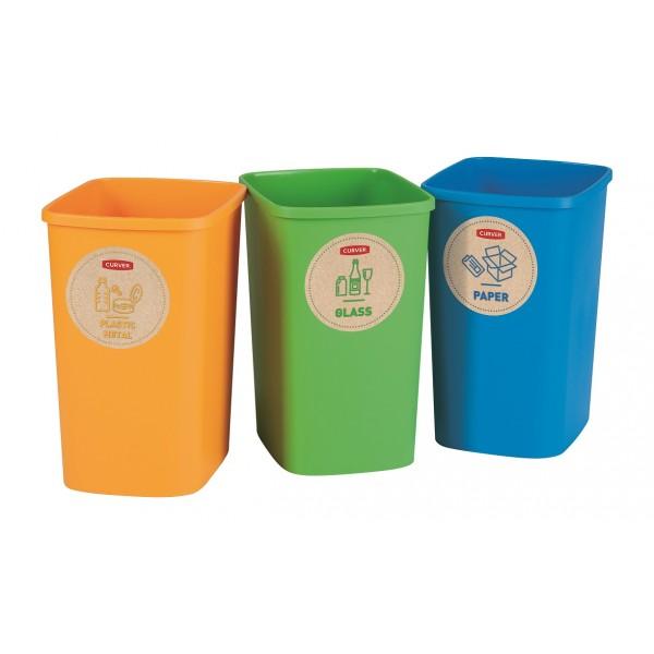 Curver Atkritumu spainu bez vaka komplekts Deco Flip Bin 3x10L zils/zals/dzeltens 0802173999 atkritumu tvertne