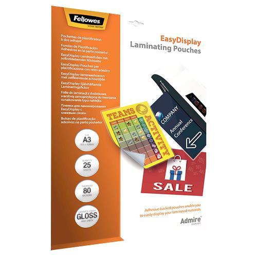 LAMINATOR POUCH ADHESIVE/A3 80 25PCS 5601803 FELLOWES laminators