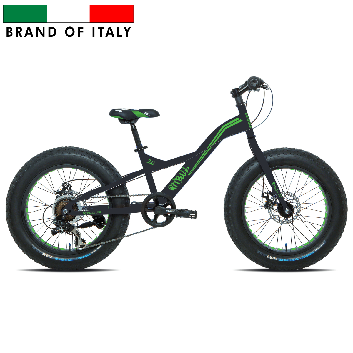 ESPERIA 9020 FAT BIKE 20'' MATT BLACK/GREEN FLUO BK9020 Pilsētas velosipēds