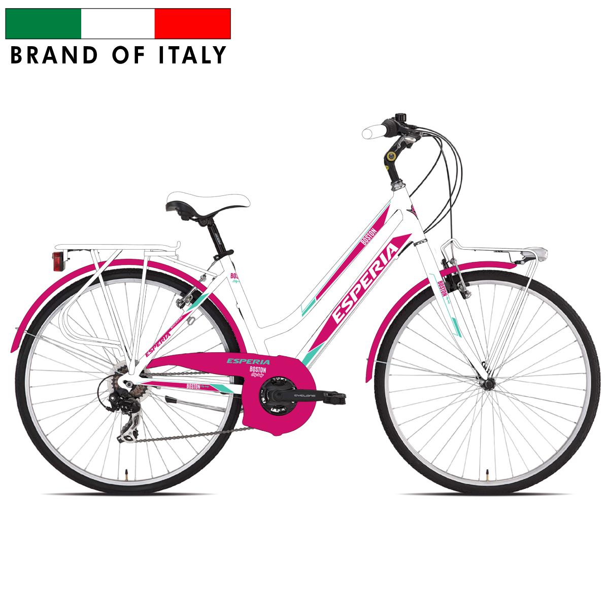 ESPERIA TRK.28 6V DONNA WHITE/FUXIA 106950D Pilsētas velosipēds