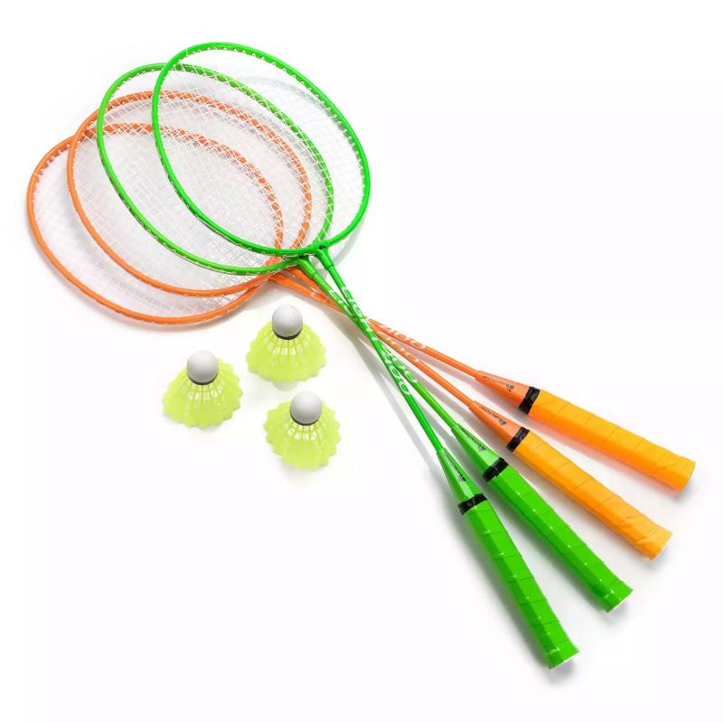 Family-Sport Classic-4 Metāla rāmja Bagmintons ar 4 Raķetēm Volāniņiem un čehola somu Multi-krāsu badmintona rakete