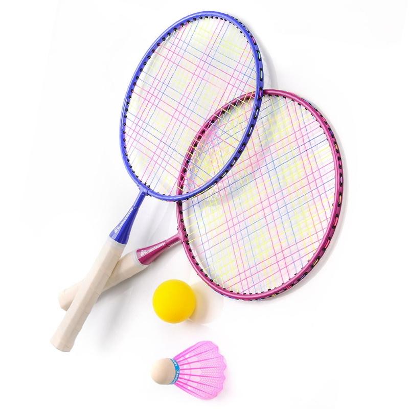 Family-Sport Junior-2 Metāla Rāmja Bērnu Bagmintons ar Volānu un Putu Bumbiņu Multi Krāsu badmintona rakete